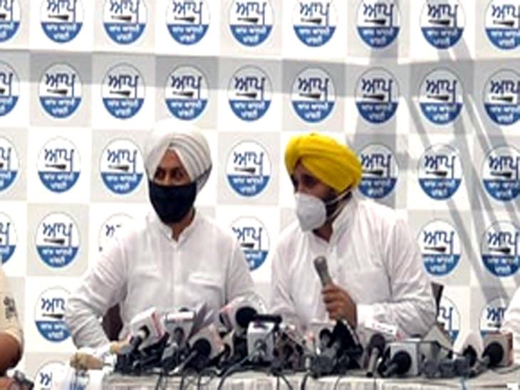 AAP के सांसद भगवंत मान और MLA जरनैल सिंह ने आज चंडीगढ़ में प्रेस कांफ्रेंस की। - Dainik Bhaskar