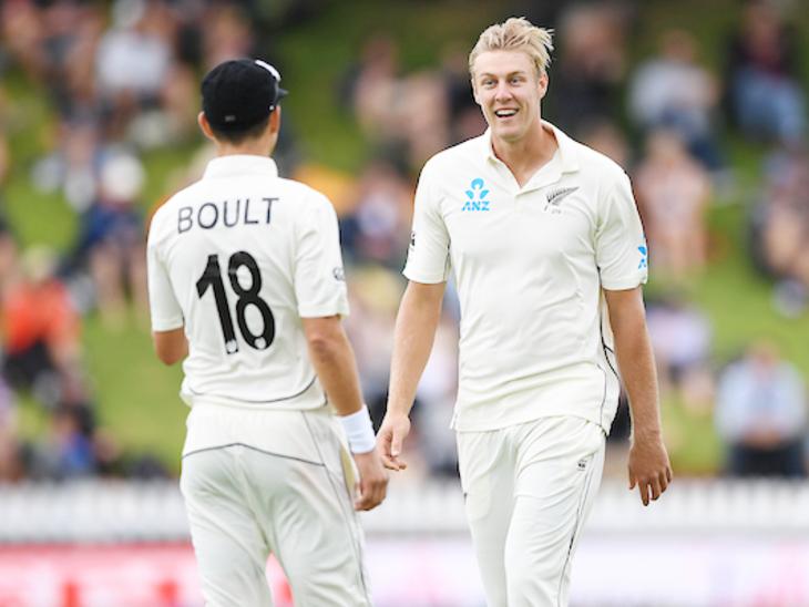 जेमिसन ने इंटरनेशनल क्रिकेट में डेब्यू भारत के खिलाफ 2020 में किया था। उन्होंने बेसिन रिजर्व पर अपना पहला टेस्ट खेला। - Dainik Bhaskar