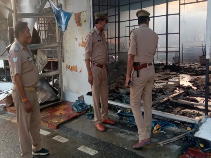 NTPC मेजा के गोदाम में शॉर्ट सर्किट से लगी भीषण आग, 1KM दूर तक दिखी लपटें; 25 लाख का नुकसान प्रयागराज,Prayagraj - Dainik Bhaskar