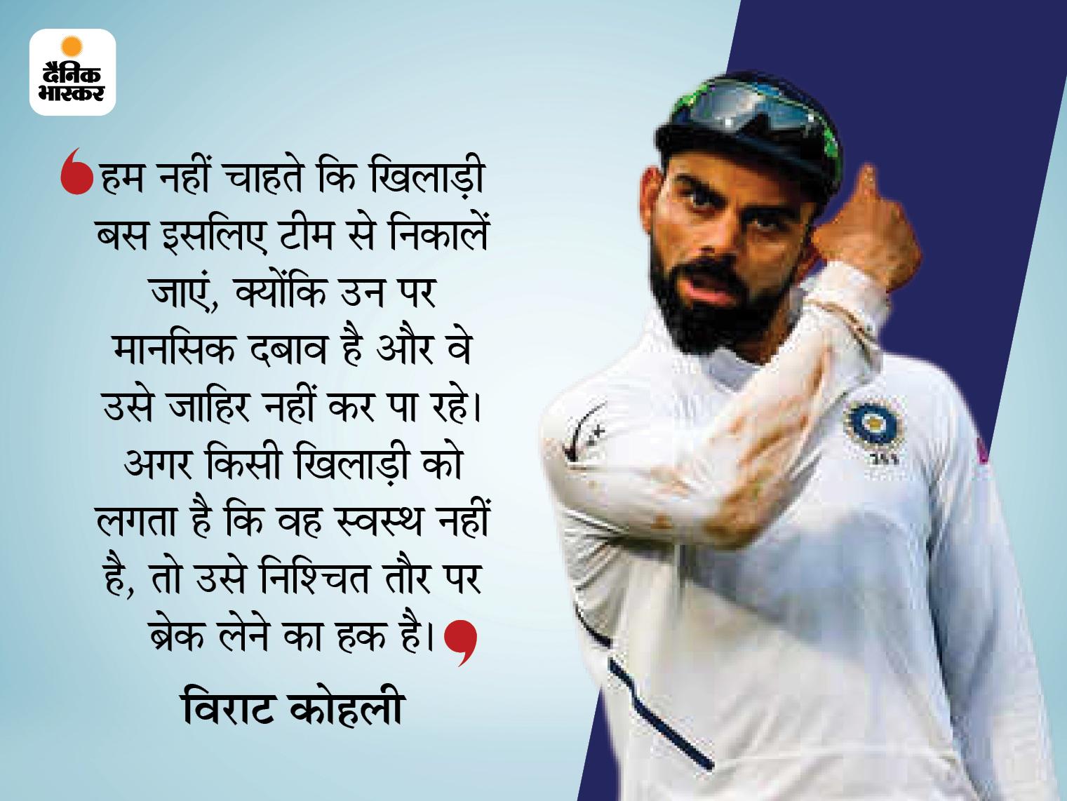 कैप्टन विराट ने कहा- प्लेयर्स के मेंटल हेल्थ का ध्यान रखना जरूरी, उसे नजरअंदाज नहीं कर सकते; खिलाड़ियों को ब्रेक भी मिले|क्रिकेट,Cricket - Dainik Bhaskar