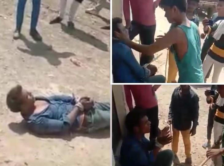 रंगे हाथ पकड़ा गया चोर तो डंडे व बेल्टों से हुई पिटाई, सड़क पर लिटाकर लातों से पीटा आगरा,Agra - Dainik Bhaskar