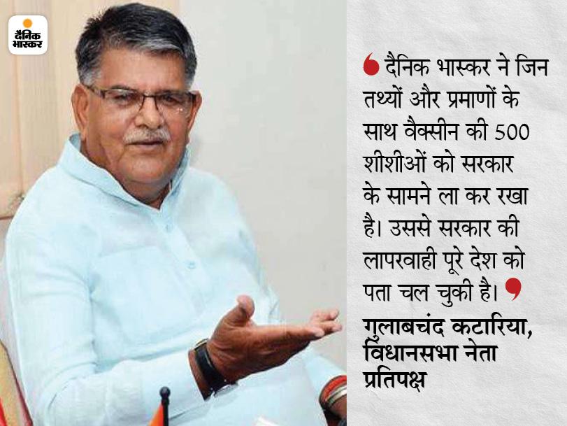 नेता प्रतिपक्ष गुलाबचंद बोले, राजस्थान के कांग्रेसी नेता हर सुबह वैक्सीन-वैक्सीन चिल्लाते हैं, केंद्र की वैक्सीन लगा अपनी पीठ थपथपा रहे हैं|उदयपुर,Udaipur - Dainik Bhaskar