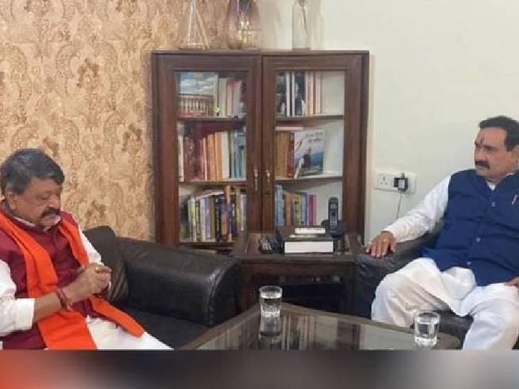 31 मई को मध्यप्रदेश के गृहमंत्री नरोत्तम मिश्रा से चर्चा करतेे कैलाश विजयवर्गीय।