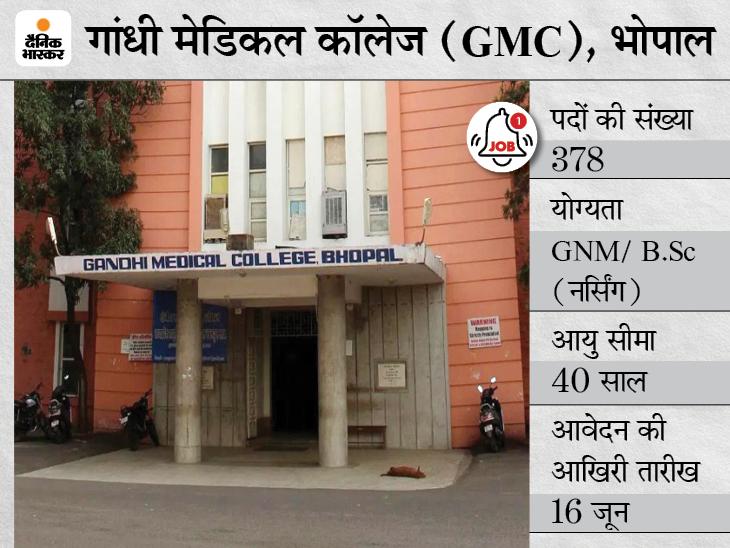 गांधी मेडिकल कॉलेज,भोपाल ने स्टाफ नर्स के 378 पदों पर निकाली भर्ती, 16 जून तक करें आवेदन|करिअर,Career - Dainik Bhaskar