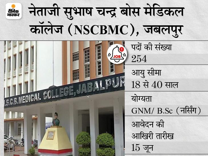 नेताजी सुभाष चन्द्र बोस मेडिकल कॉलेज, जबलपुर ने कर्मचारी नर्स के 254 पदों के लिए मांगे एप्लीकेशन, 15 जून आवेदन की आखिरी तारीख|करिअर,Career - Dainik Bhaskar