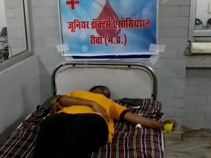 जूनियर डाॅक्टरों ने खून देकर कहा- हम जनता के सेवक हैं, विरोधी नहीं, सरकार हमारी मांगें माने|रीवा,Rewa - Dainik Bhaskar