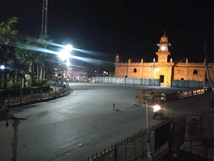 शनिवार रात को  महाराज बाड़ा कर्फ्यू के बाद का दृश्य - Dainik Bhaskar