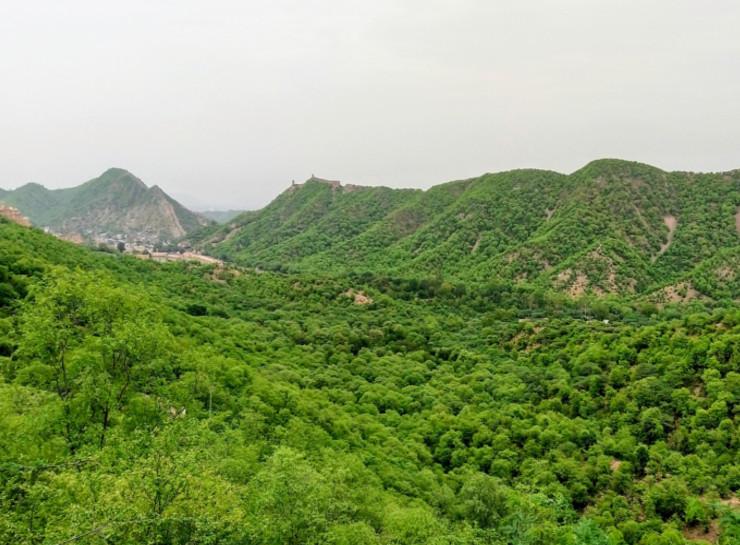जयपुर में नाहरगढ़ की पहाड़ी से अरावली पर्वतमाला का नजारा। यहां आमेर और जयपुर की सुरक्षा के लिए पहाड़ियों पर कई जगह बुर्ज बना रखी है।