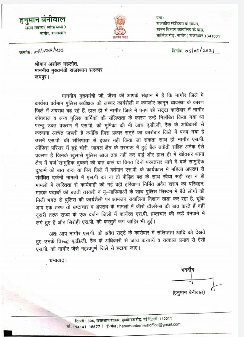 नागौर सांसद हनुमान बेनीवाल ने CM अशोक गहलोत को पत्र भेजकर की SP की शिकायत और हटाने की मांग।