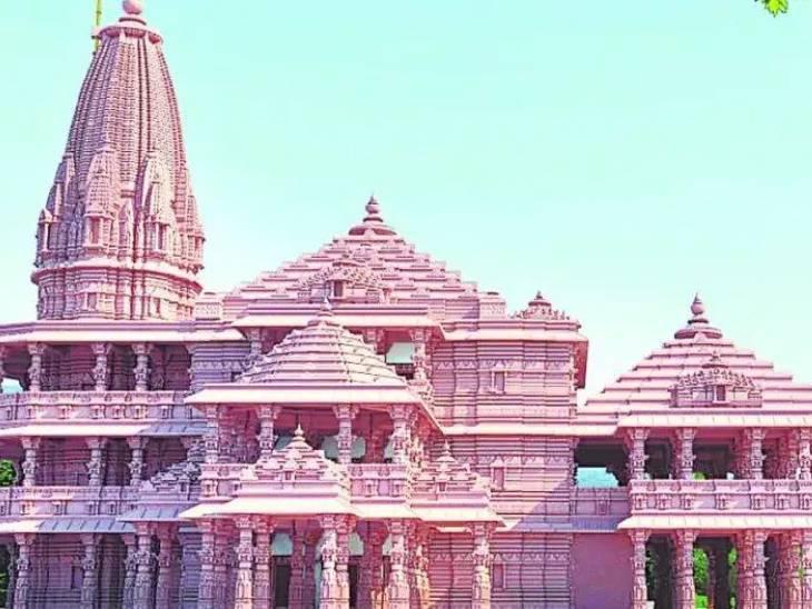 नींव की भराई का काम पूरा होने के बाद मिर्जापुर के लाल पत्थरों से बनेगी 16 फीट ऊंची प्लिंथ; राजस्थान के पिंक स्टोन से बनेगा भव्य मंदिर|लखनऊ,Lucknow - Dainik Bhaskar