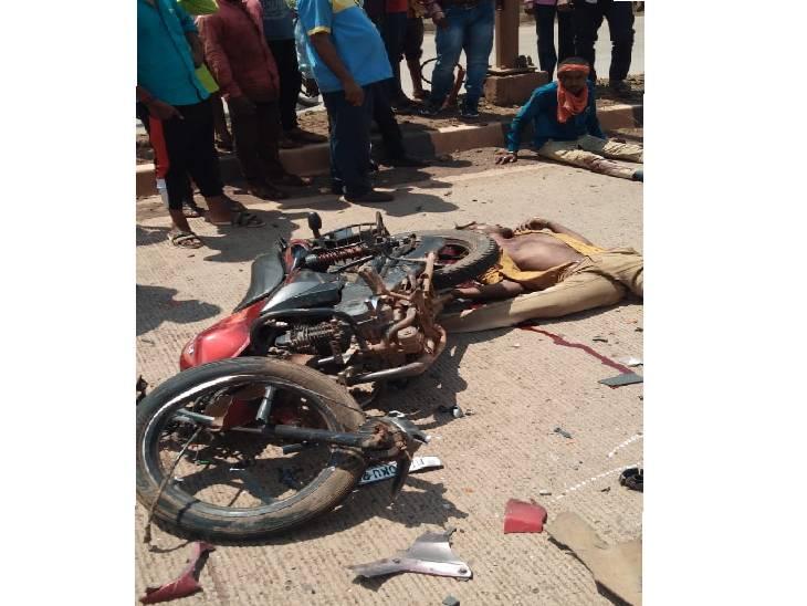 NH-30 पर जीप की टक्कर से 50 मीटर तक फिसली बाइक, डिवाइडर से टकरा कर अगला पहिया हुआ अलग, दो की मौके पर मौत, एक गंभीर, दो अन्य हादसे में गई दो जानें|जबलपुर,Jabalpur - Dainik Bhaskar