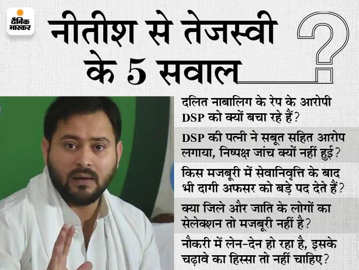 बोले- JDU के राष्ट्रीय अध्यक्ष, केंद्रीय चयन परिषद के अध्यक्ष और DSP को बचा रहे हैं नीतीश, किस मजबूरी में युवाओं की प्रतिभा की बली चढ़ा रहे?|बिहार,Bihar - Dainik Bhaskar