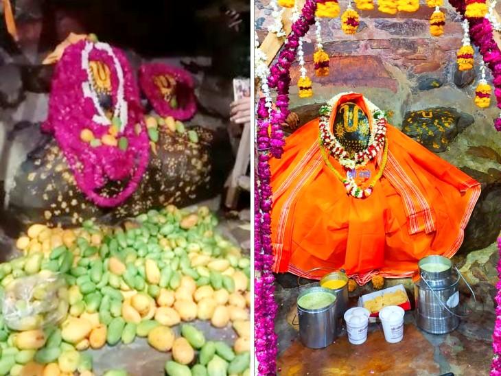 गिर्राज जी को लगा सवा लाख आम का भोग, चंदन से लेप; फूलों से श्रृंगार देख श्रद्धालु मंत्र मुग्ध मथुरा,Mathura - Dainik Bhaskar