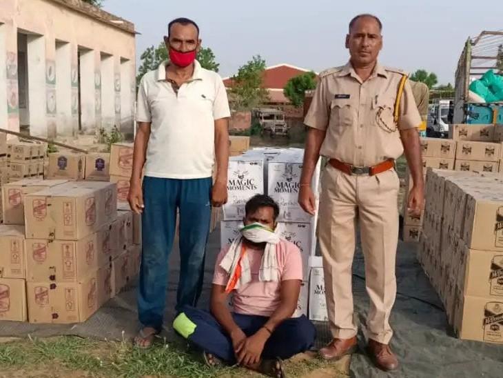 अलग-अलग ब्रांड की 343 शराब की पेटियां बहरोड़ केपास हाइवे पर जब्त की, कोटा पहुंचानी थी; ड्राइवर गिरफ्तार|अलवर,Alwar - Dainik Bhaskar
