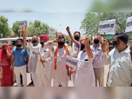 जयपुर ग्रेटर महापौर डॉ. सौम्या के निलंबन का भाजपा ने जताया विरोध, प्रदर्शन किया बाड़मेर,Barmer - Dainik Bhaskar
