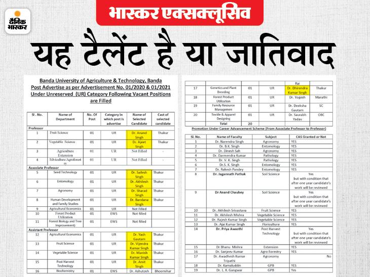 कृषि विश्वविद्यालय में 15 प्रोफेसर की नियुक्तियां, उनमें से 11 एक ही जाति के|लखनऊ,Lucknow - Dainik Bhaskar