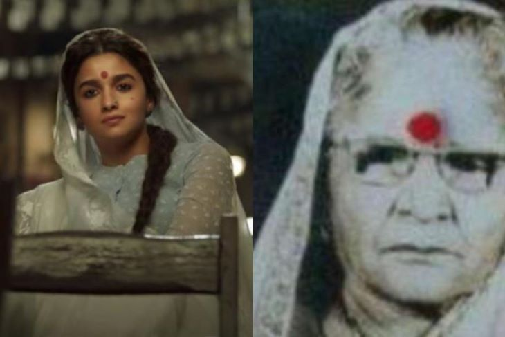 गंगूबाई काठियावाड़ी में गंगूबाई बनीं आलिया और ओरिजिनल गंगूबाई जिनके जीवन पर ये फिल्म बनी है।