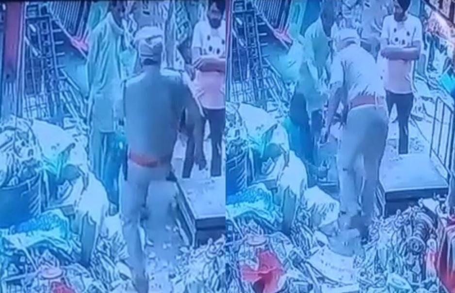 दिव्यांग व्यक्ति को लात व थप्पड़ से पीटता CCTV कैमरे में कैद हुआ आरोपी ASI रघुवीर सिंह। - Dainik Bhaskar