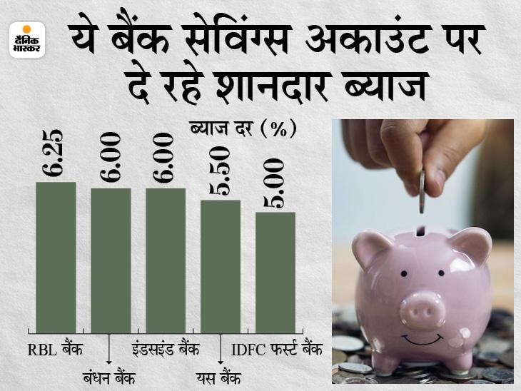 बंधन और इंडसइंड बैंक सहित ये बैंक सेविंग्स अकाउंट पर दे रहे फिक्स्ड डिपॉजिट से ज्यादा ब्याज|बिजनेस,Business - Dainik Bhaskar