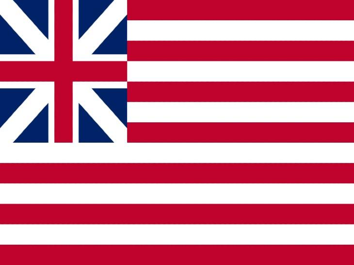 अमेरिका का पहला झंडा। साल 1775 से 1777 तक अमेरिका ने इस झंडे को अपनाया था।
