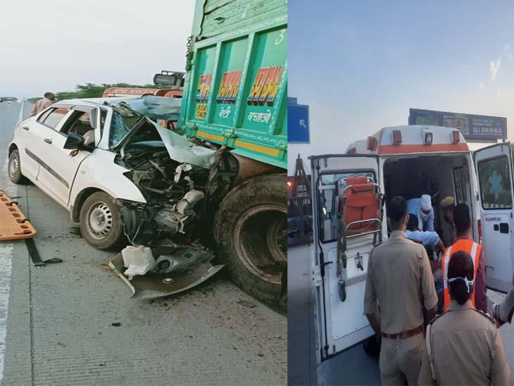 कार को काट कर घायलों और मृतकों को बाहर निकाला गया। - Dainik Bhaskar