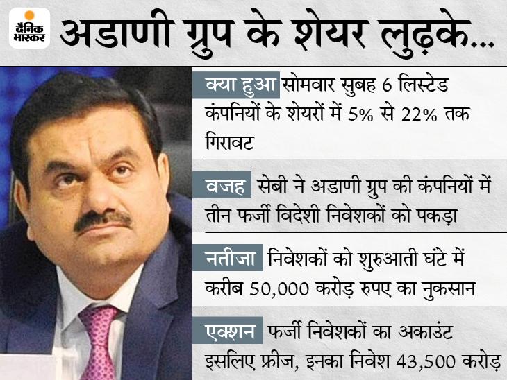 अडाणी ग्रुप की कंपनियों के 43500 करोड़ के शेयर फ्रीज, सेबी की जांच शुरू, निवेशकों को शुरुआती एक घंटे में करीब 50 हजार करोड़ का नुकसान|बिजनेस,Business - Dainik Bhaskar