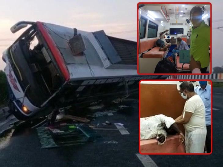 बिहार से पंजाब जा रही प्राइवेट बस आगरा-लखनऊ एक्सप्रेस वे पर पलटी, 10 यात्री घायल; युवक बोला- खिड़की से कूदकर बचाई जान|आगरा,Agra - Dainik Bhaskar