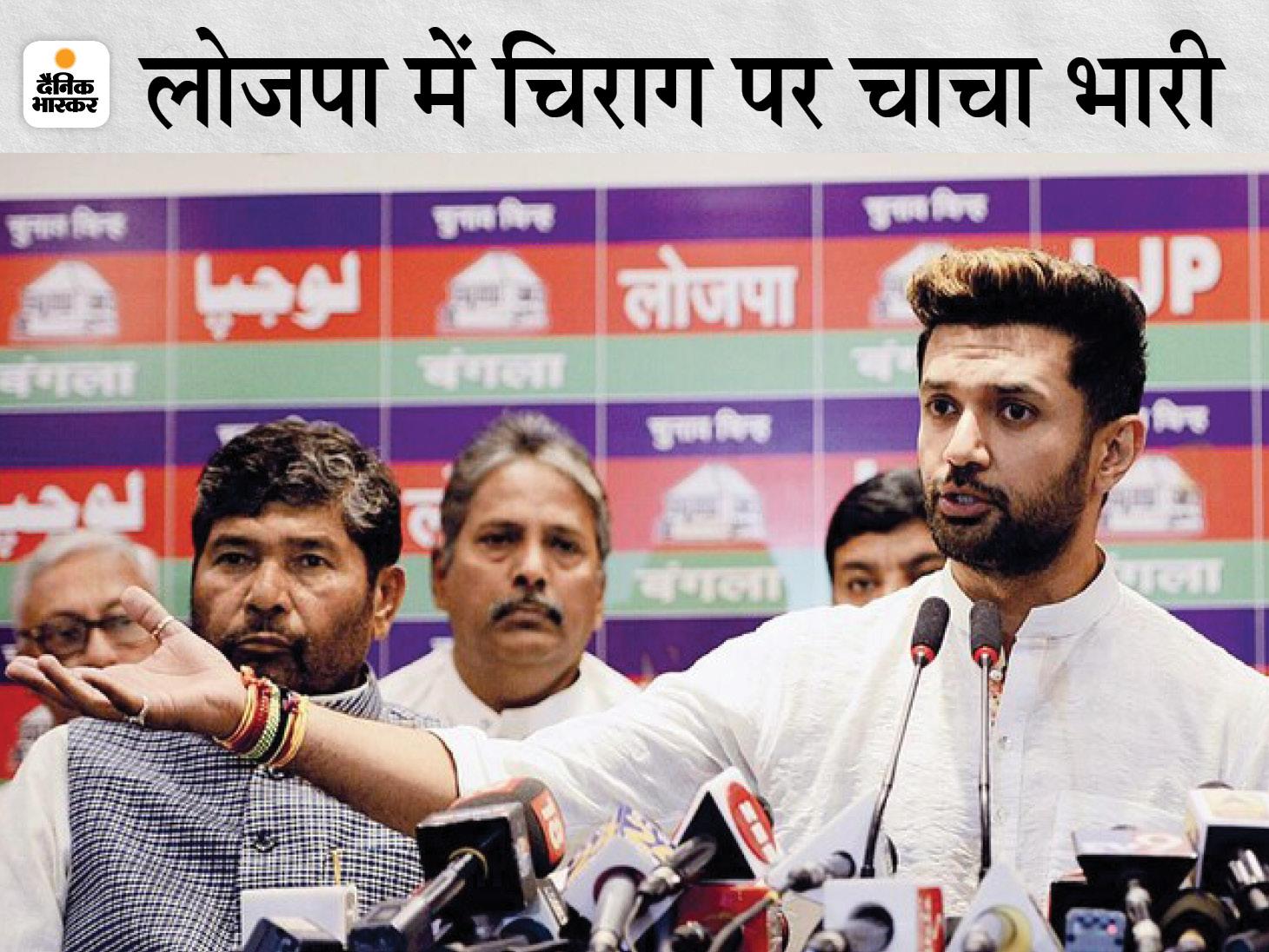 चिराग को अकेले छोड़ा, बाकी 5 सांसदों ने पारस को नेता चुना; लोकसभा अध्यक्ष को सौंपी चिट्ठी, आज चुनाव आयोग को जानकारी देंगे पटना,Patna - Dainik Bhaskar