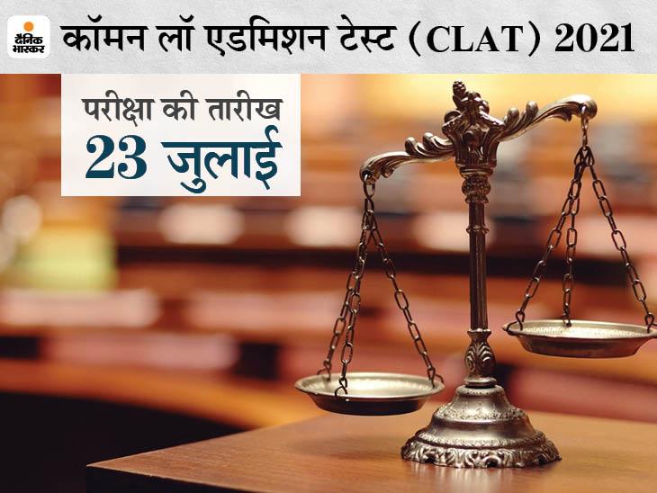 कंसोर्टियम ऑफ नेशनल लॉ यूनिवर्सिटीज ने जारी की परीक्षा की तारीख, 23 जुलाई को ऑफलाइन मोड में होगा लॉ एंट्रेंस एग्जाम करिअर,Career - Dainik Bhaskar
