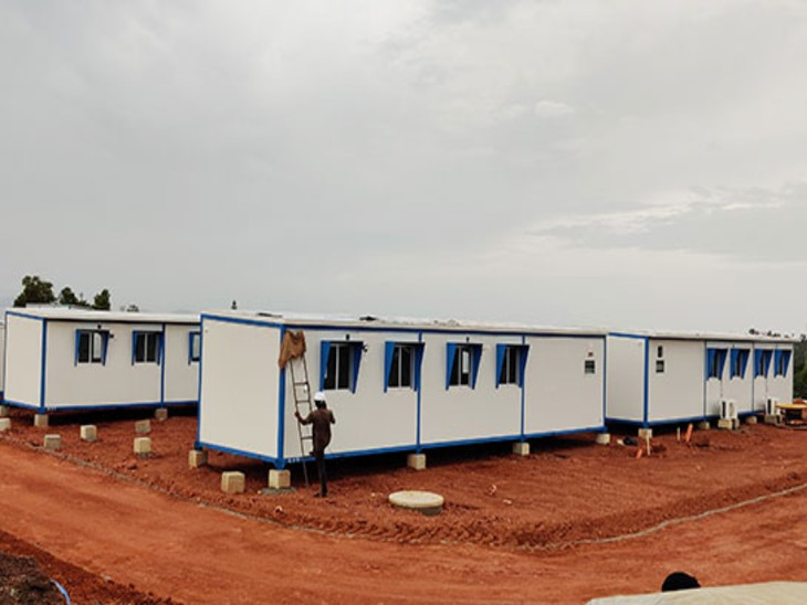 केरल के कासरगोड में बनाया गया मॉड्यूलर हॉस्पिटल।