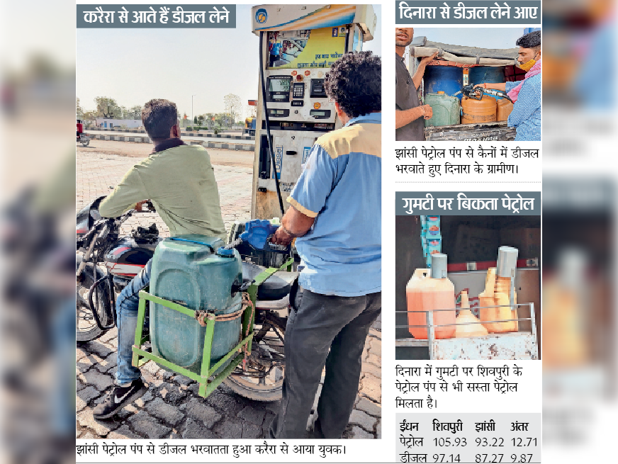 उप्र में मप्र से सस्ता पेट्रोल-डीजल, झांसी से लाकर गुमटी व परचून दुकानों पर बेच रहे शिवपुरी,Shivpuri - Dainik Bhaskar