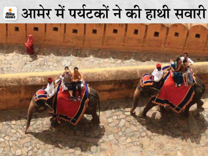 60 दिन बाद फिर से पर्यटकों की आवाजाही से गुलजार हुए पर्यटन स्थल; आमेर किले के दीवान-ए-आम में ली सेल्फी|जयपुर,Jaipur - Dainik Bhaskar