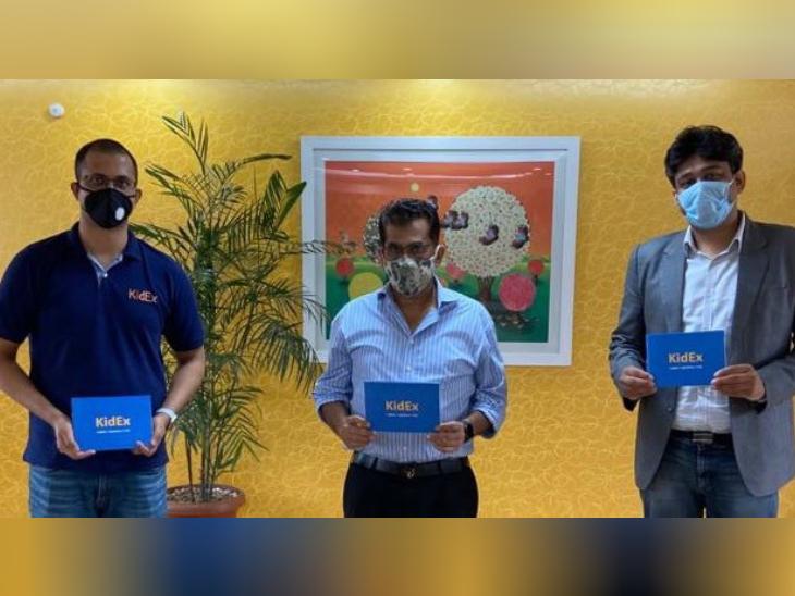 NITI आयोग के CEO अमिताभ कांत के साथ कपीश सराफ और अमृतांशु कुमार।