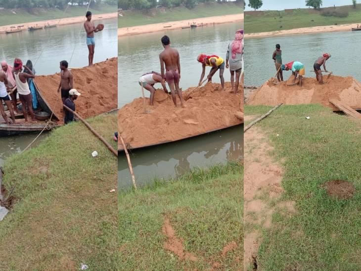 टोंस नदी में अवैध रेत खनन। - Dainik Bhaskar