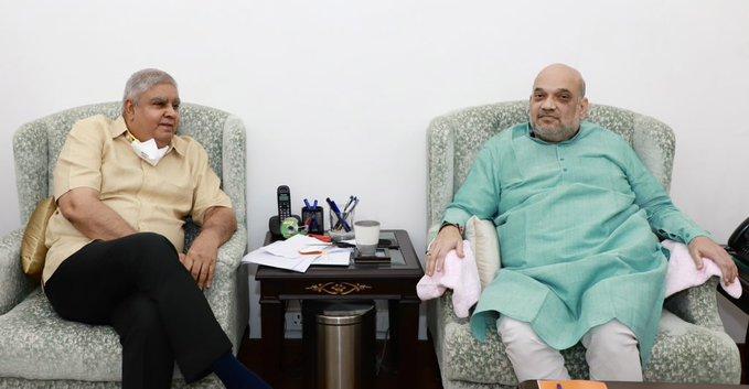 जगदीप धनखड़ ने गृह मंत्री अमित शाह से भी गुरुवार शाम को मुलाकात की।