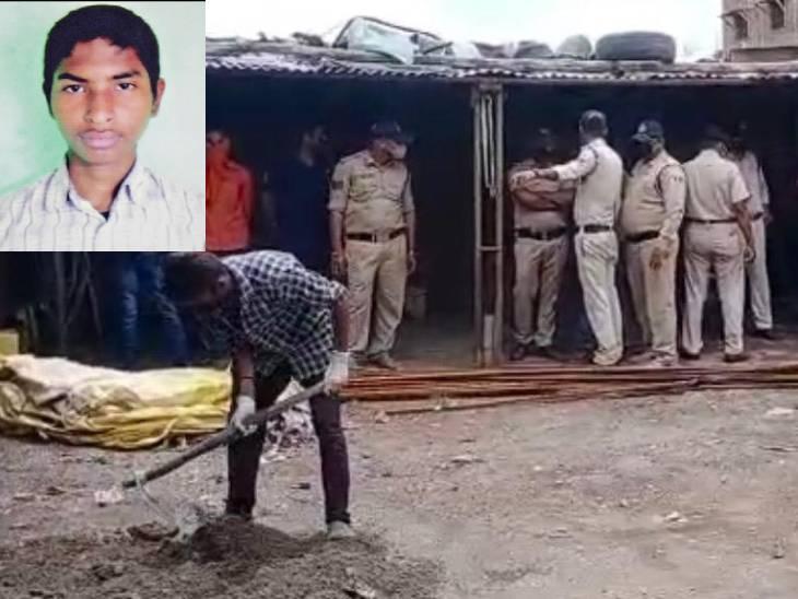 इनसेट में मृतक रोहित और कब्र को खोदकर डेड बॉडी निकलवाती पुलिस। - Dainik Bhaskar