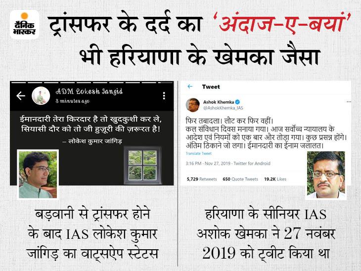 बड़वानी से हटाए गए IAS लोकेश का वॉट्सऐप स्टेटस- 'ईमानदारी तेरा किरदार है तो खुदकुशी कर ले, सियासी दौर को तो जी हुजूरी की जरूरत है'|मध्य प्रदेश,Madhya Pradesh - Dainik Bhaskar
