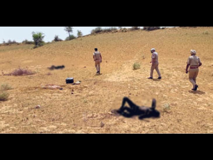 सुबह चरवाहे ने खेत में पड़े जले हुए शव देख पुलिस को दी सूचना। - Dainik Bhaskar