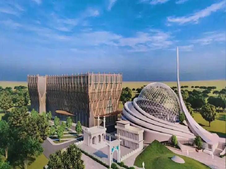 भारत-इस्लामिक कल्चरल फाउंडेशन (IICF) ट्रस्ट ने अयोध्या में बन रही मस्जिद की इसी डिजाइन को जारी किया था। धन्नीपुर गांव में चल रहा है मस्जिद निर्माण।