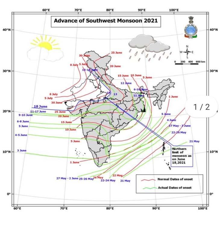 मानचित्र में देखें राजस्थान में मानसून की स्थिति।
