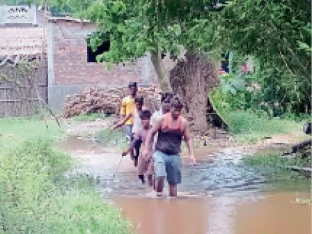 पानी भरे खेतों की पगडंडी से गांव से बाहर निकलते लोग। - Dainik Bhaskar