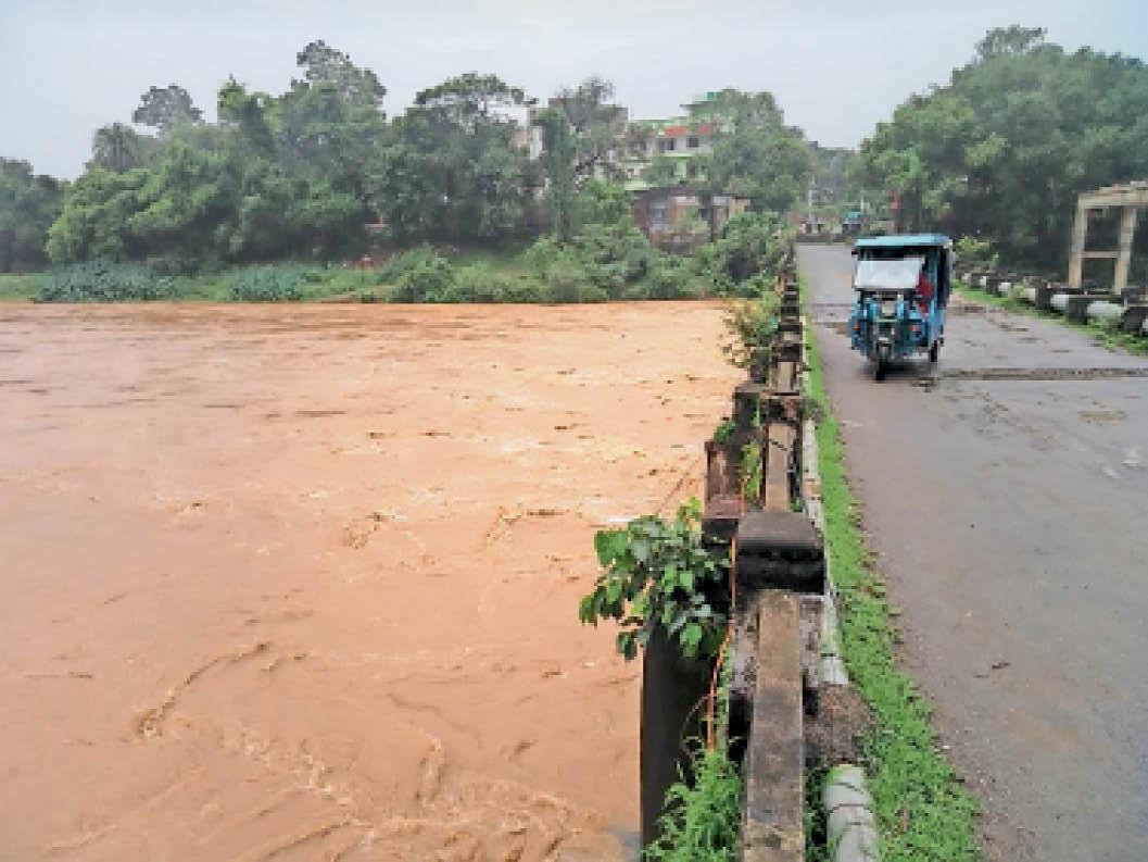 लगातार बारिश से उफनाई उसरी नदी का जलस्तर पुल के करीब पहुंचा। - Dainik Bhaskar