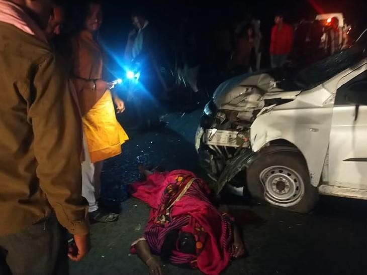 बाइक पर गांव जा रहे थे 4 लोग, ट्रक को ओवरटेक करने के चक्कर में कार से भिड़े; पति-पत्नी और 4 साल के बेटे समेत चारों की मौत|विदिशा,Vidisha - Dainik Bhaskar