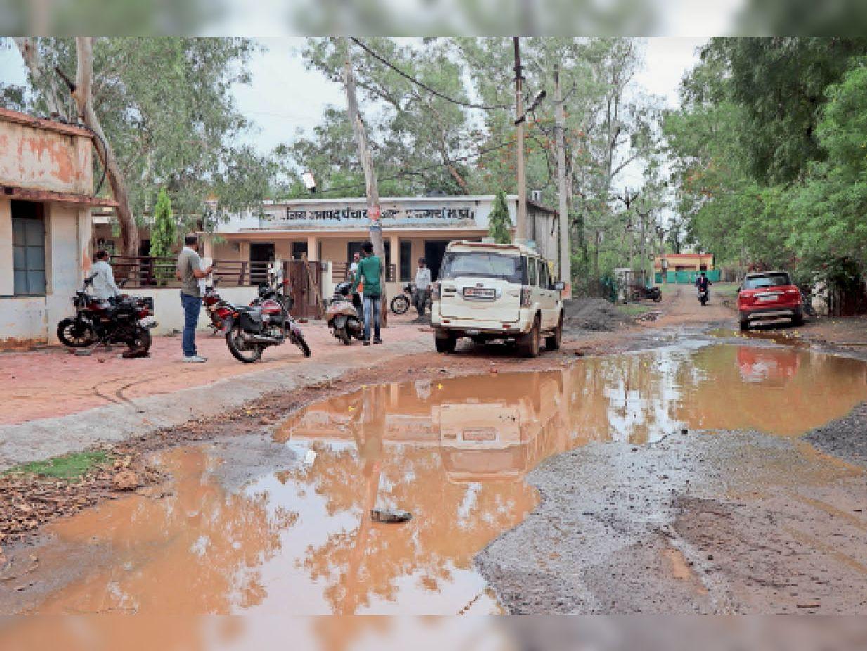 मजिस्ट्रेट कॉलोनी एवं जनपद पंचायत कार्यालय वाली सड़क पर जमा हुआ बारिश का पानी। निकासी नहीं होने से होता है पानी का भराव। - Dainik Bhaskar