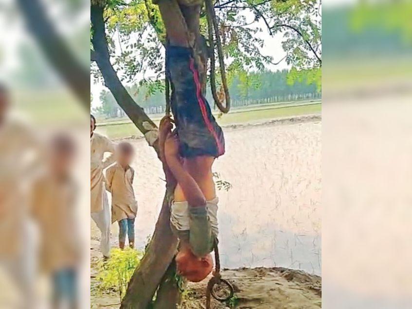 चोरी का आरोप लगाते हुए खेत के मालिक ने अपने यहां काम करने वाले युवक को पेड़ से उल्टा लटकाकर कई घंट तक बुरी तरह पीटा। - Dainik Bhaskar