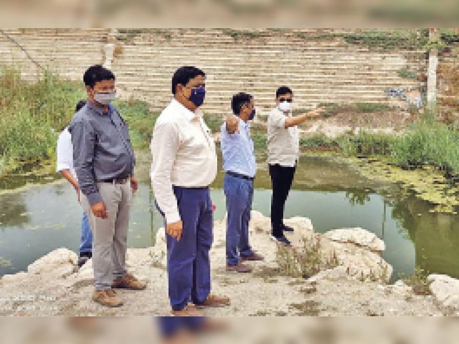 बख्तासागर तालाब काे निरीक्षण करते कलेक्टर। - Dainik Bhaskar