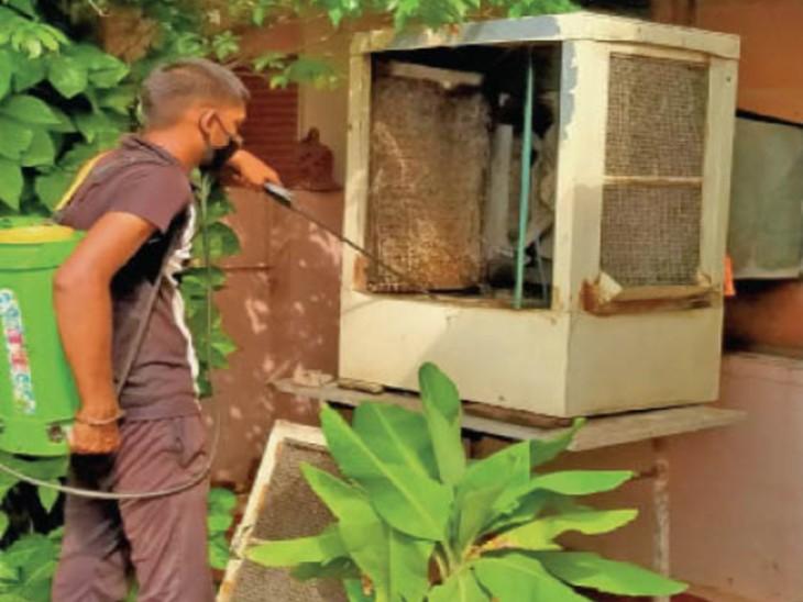 टाउनशिप के सेक्टर-4 और सेक्टर-5 में हर घर तक पहुंच रही सर्वे टीम, जिनमें पानी जमा उसे खाली कराया जा रहा। - Dainik Bhaskar
