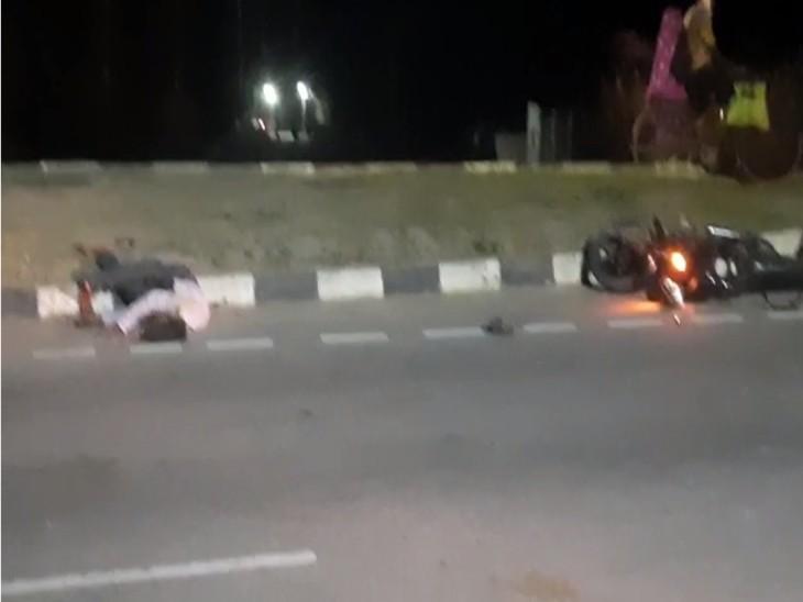 तेज रफ्तार अज्ञात वाहन ने बाइक सवार को मारी टक्कर। युवक ने सड़क पर तोड़ा दम। - Dainik Bhaskar