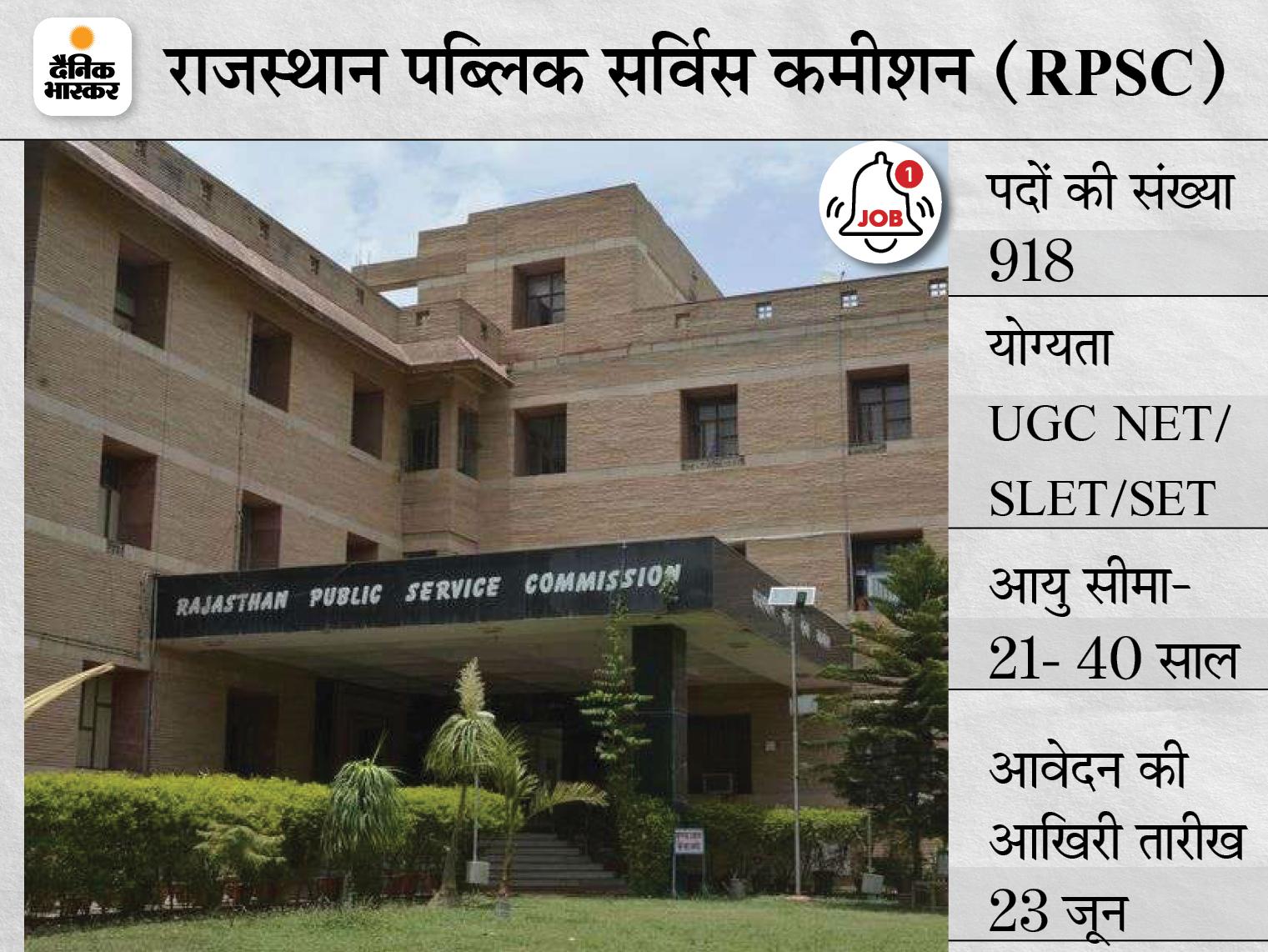 RPSC ने असिस्टेंट प्रोफेसर के 918 पदों पर निकाली भर्ती, 23 जून तक जारी रहेगी एप्लीकेशन प्रोसेस|करिअर,Career - Dainik Bhaskar