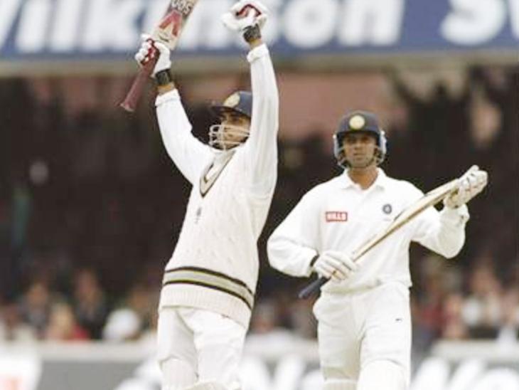इंग्लैंड के खिलाफ डेब्यू टेस्ट में गांगुली और द्रविड़।
